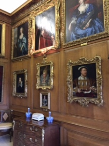 Burghley House drawing room with Elizabethan portraits