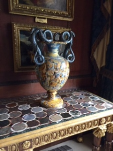 Burghley House Italian maiolica vase with table made from different Vesuvius volcanic solidified materials