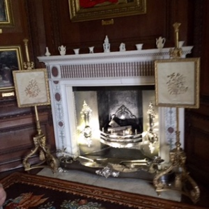 One of four silver fire places with silver fire instruments...silver on steroids!