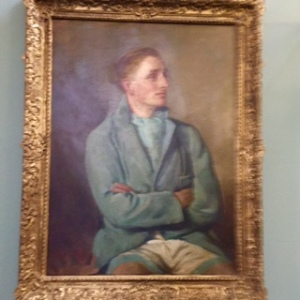 Painting of Lord David Burghley, the Sixth Marquess of Exeter, 1928 400m athletics Gold medalist and silver medalist at the 1932 Los Angeles Olympics in the 4x100m relay