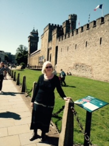 Ann outside the walls of the whole Cardiff Castle complex