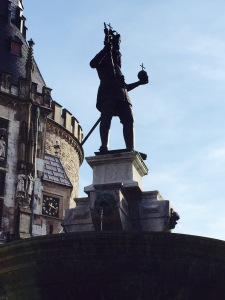 Statue of Charlemagne in the Rathaus square of Aachen