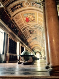 Astounding library which disappears into the distance with leather bound volumes. Richard was happy here