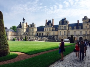 Fontainebleu Chateau has been a royal palace since the C12th and its grounds, buildings and gardens, like Versailles cannot be comprehended in one of shots. It is less dramatic than some European palaces but very ordered and dignified