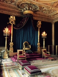 The Throne Room at Fontainebleau. Kings were not crowned here but at Rheims Cathedral however many royals administered from Fontainebleu and preferred it to Versailles and Paris