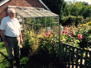 Brian surveying the next job in the amazing veggie patch at Forge House