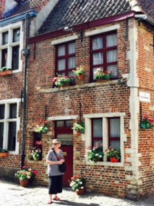 Original winding streets and narrow lanes of genuine old time Ghent, called Patershol, now full of trendy restaurants!