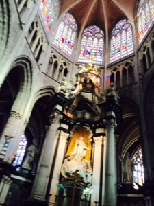 High altar in St Bavo's Ghent by H F Verbruggen (C18th) about 59 feet high representing St Bavo's apotheosis.