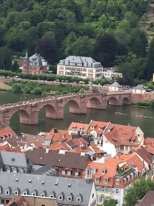 Heidelberg old town including the bridge over the river from the castle wall