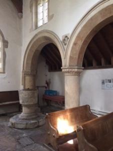 Romanesque columns in St George's Church in Kelmscott Village
