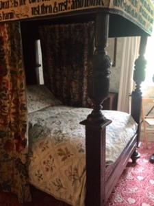 Jane Morris bedroom quilt currently on William Morris's bed at Kelmscott Manor