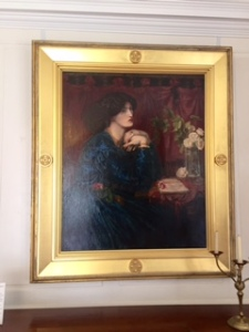 Perhaps the most famous of the many portraits of Jane Morris by Dante Gabriel Rossetti. Morris suffered their affair at Kelmscott and travelled often to Iceland in this period. Eventually alcohol and drugs drove Rossetti away ..(perhaps guilt caused by his wife's earlier suicide??)