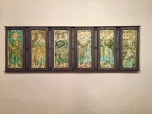 Porcelain panels showing the six days of Creation by Pre-Raphaelite C19th artist Edward Burne-Jones.