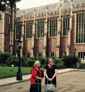 Ann and Naomi in the gardens surrounding the impressive neo-Gothic Treasury Building in Lincoln Fields Inn