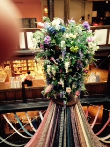 Liberty's floral and fabric display projecting through six floors of retail excitement