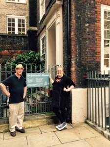 Richard and Naomi outside Dr Johnson's House near Lincoln Fields Inn in London