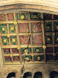 Well maintained painted and carved ceiling in the crossing of Southwark Cathedral