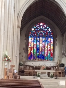 Glorious fairly new stained glass window at St George's Catholic Cathedral Southwark