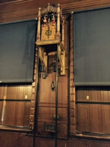 Longleat's C16th clock in the Elixabethan Baronial Hall . We were there at midday and the chime lasted over a minute with various antics of the figures