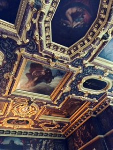 Ceiling in one of the three extraordinary State rooms. One of the marquesses was deeply influenced by travelling to Italy and the ceilings were modelled after the Doge's Palace ceilings in Venice