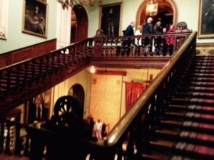 Front staircase at Longleaf. The house contains over 1000 paintings many of them portraits of the family over 600 years and also a number of royal portraits. Elizabeth 1 visited this house