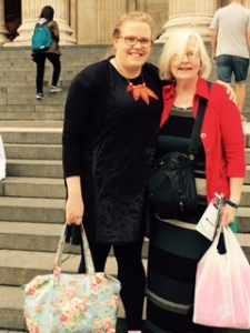 Ann catches up with her niece Naomi Woolley on the steps of St Paul's Cathedral London