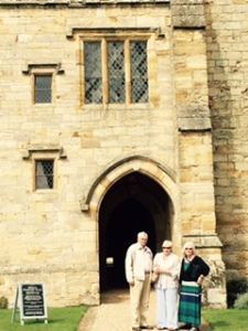 Ann, Brian and Joyce at the entrance to the Gothic Baronial hall at Penshurst Place in Penshurst Kent
