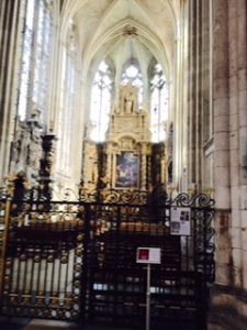 Rouen high altar hidden behind forbidding steel gates. Very off-putting!