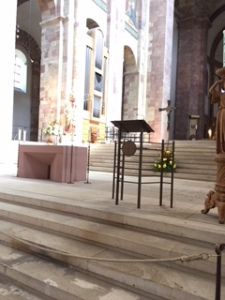 View of sanctuary with modern furniture in Speyer Cathedral