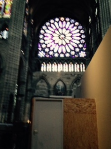 St Denis Rose window in the very small Crossing. Huge to look at because relatively close to eye level instead of, as usual up in the gods. The entrancing stained glass cannot be seen in normal photography. There is much other glorious stained glass from various periods in the Cathedral