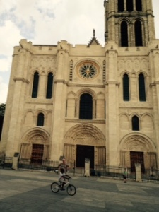 Ancient St Denis cathedral, the West front. No real towers and looking a little lop-sided.