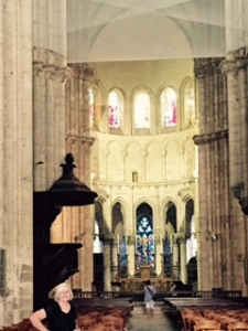 Early Gothic church in Blois interior with netting to protect worshippers and visitors from falling debris