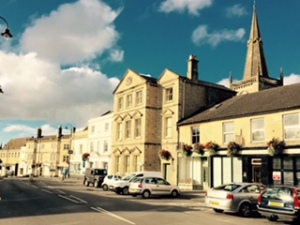 Streetscape in Chippenham Wiltshire England