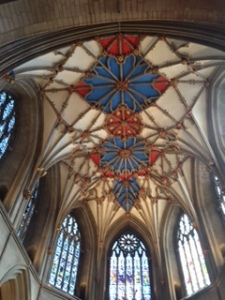 Close up of the painted ceiling in the quire of Tewksbury Abbey