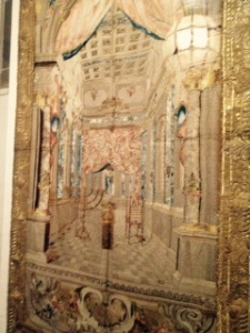 Ancient silk synagogue hangings origin unknown and languishing in a private collection until bought by Rothschild at significant cost to show to the public. There is a complete room dedicated to these complex fabrics.