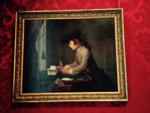 Waddesdon painting of boy making a house of cards