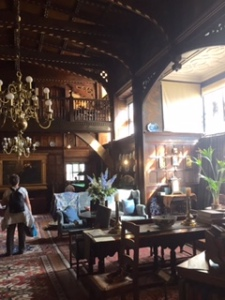 Wightwick Manor Baronial hall, paintings, ancient carpets, furniture, books