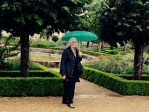 Ann in the front formal garden at Wilton House