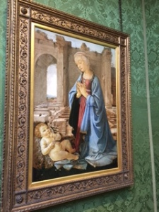 Verrochio C15th Italian: The Virgin adoring the Christ Child. This was one of Ruskin's personally owned and favourite paintings donated to the Edinburgh Gallery