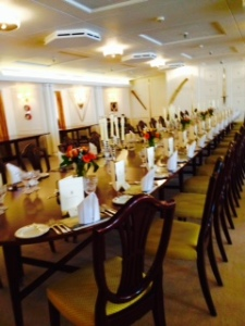 The royal dining room set for 56!