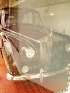The Queen's Rolls Royce travelled with them to other lands. the bumper had to be removed to get it into the space