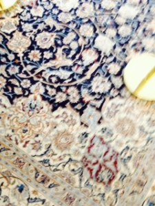 Close up of the royal lounge room carpet on the Brittania ..great taste..same Persian carpet as Prideaux Castle in Berwick!