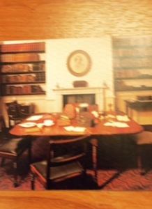 The Bronte Parsonage dining room which was also the writing room and the actual table on which these classic novels were written
