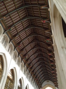 painted ceiling of Bury St Edmunds Cathedral nave difficult to capture with iPhone