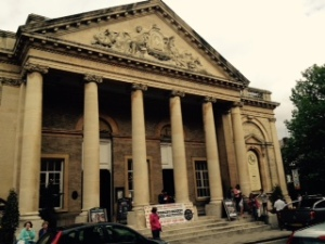 Palladian Corn Exchange in Bury St Edmunds busy today on Market day with a Brewing festival
