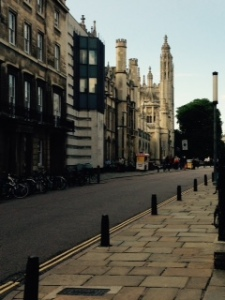Cambridge streetscape with the towers of Kings College in the distance