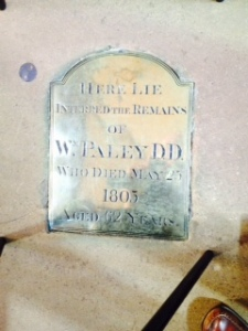 William Paley's tomb in Carlisle Cathedral. Famous for his