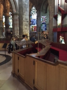 View of the classy new choir stalls quite close to the centre of the action