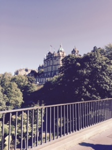 View of Edinburgh university from George St Bridge next to the Art Gallery