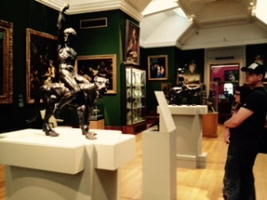 The two contested Rothschild Michelangelo bronzes closely under guard